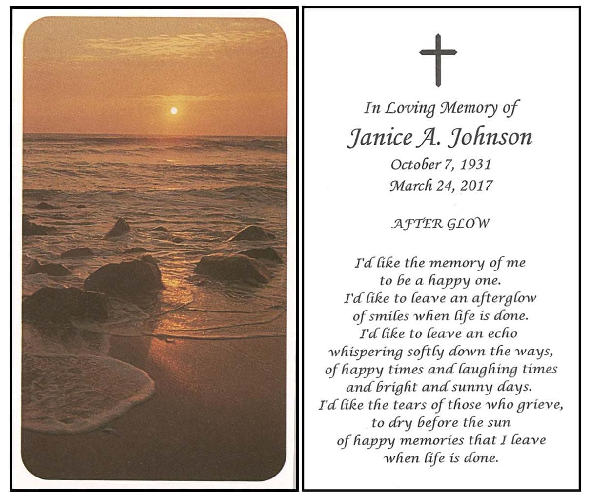 Buy Memorial Prayer Cards